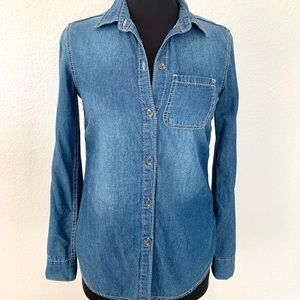 Seven7 Denim Fitted Button-Up Shirt